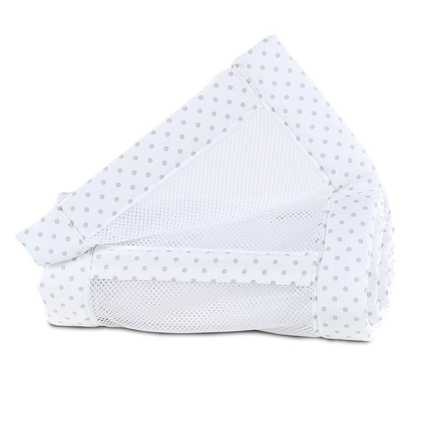 babybay ® rede Mesh-Pique Original hvide prikker perlegrå 149x25 cm