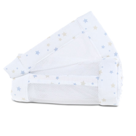 babybay® Nestchen Mesh-Piqué Original sand/azurblau Sternemix 149x25 cm