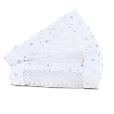 babybay® Reunapehmuste mesh piqué Alkuperäinen hiekka / azurin sininen tähtisekoitus 149x25 cm