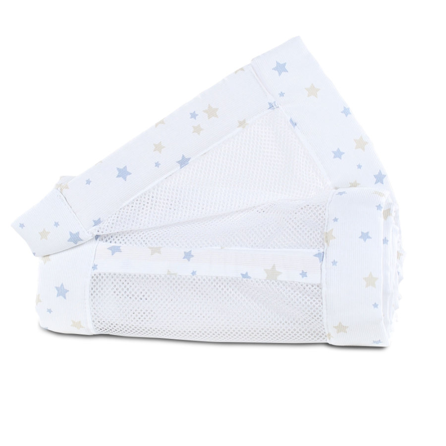 babybay ® Nest mesh piqué Originální písek / azurová modrá hvězda mix 149x25 cm