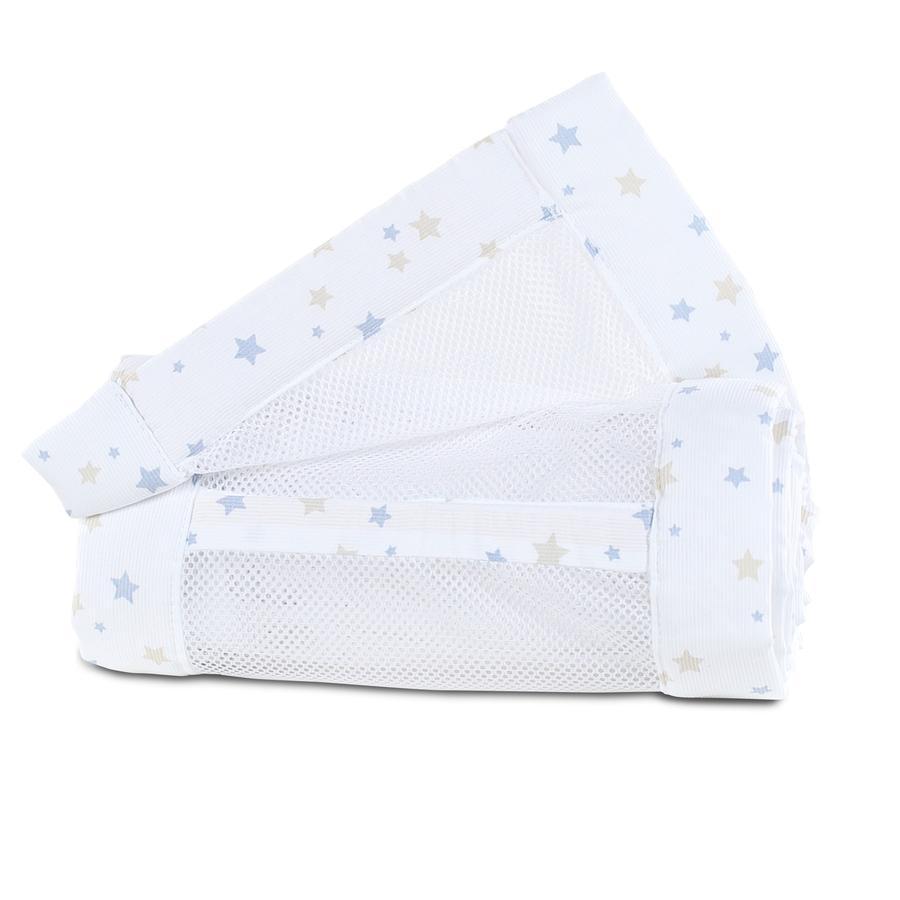 babybay® Tour de lit cododo mesh piqué Original sable/bleu azur étoiles 149x25 cm