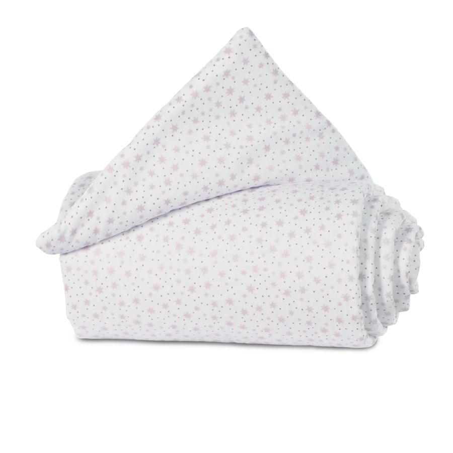 babybay ®Nestchen Organic Cotton Maxi, box spring, Comfort białe błyszczące gwiazdy różowe 157x24 cm