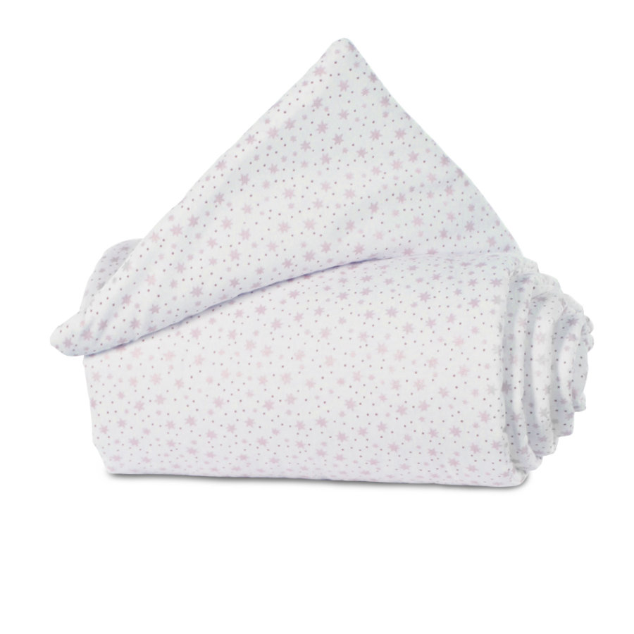 babybay®Nestchen Organic Cotton Maxi, Boxspring, Comfort weiß Glitzersterne rosa 157x24 cm