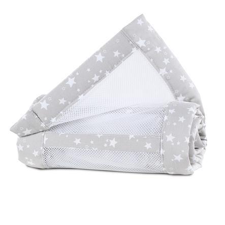 babybay ® rede mesh piqué Maxi, boxsping og Comfort perlegrå stjerner 168x24 cm