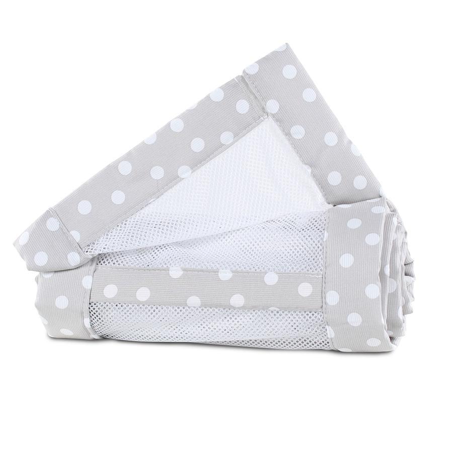 babybay ® Nest mesh piké Maxi, boksfjær og Comfort perlegrå prikker 168x24 cm