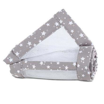 babybay® Spjälskydd Mesh-Piqué Maxi, Boxspring och Comfort vita stjärnor 168x24 cm