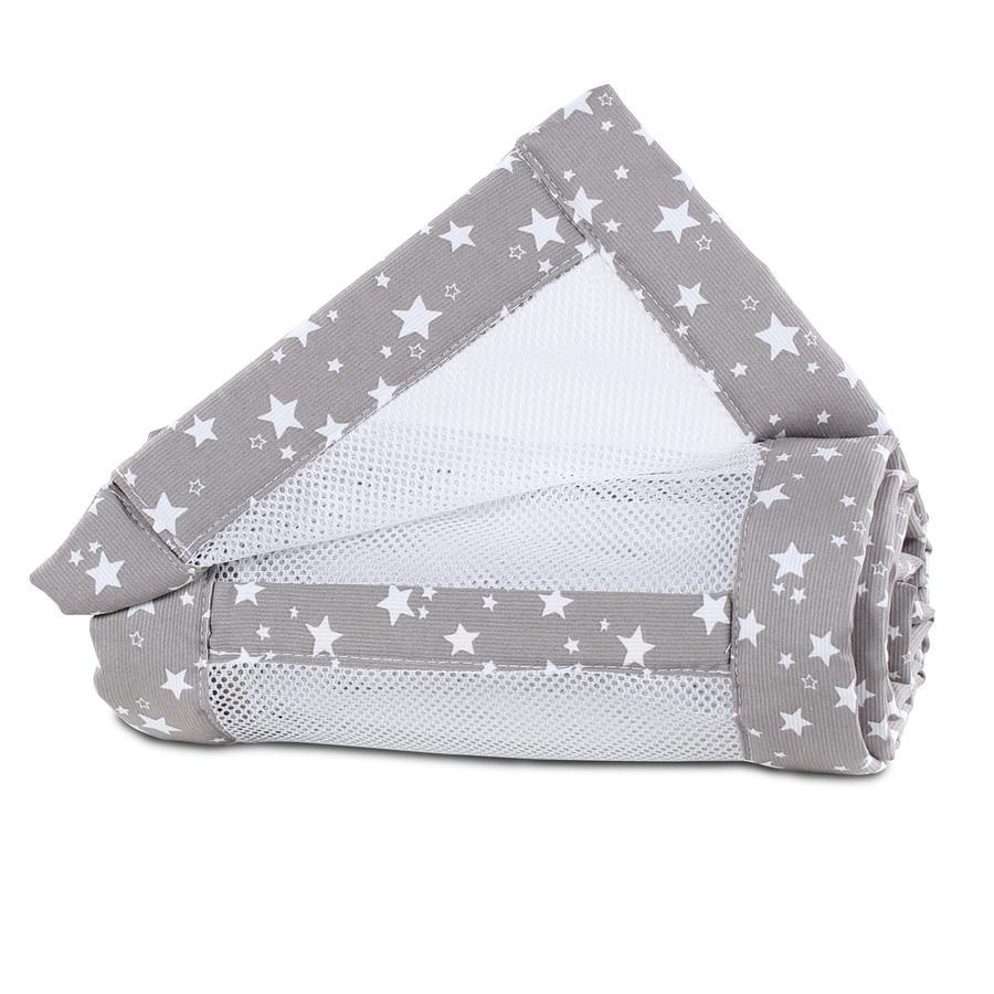 babybay® Paracolpi Mesh-Piqué Maxi, Boxspring e Comfort, tortora stelle bianche 168x24 cm