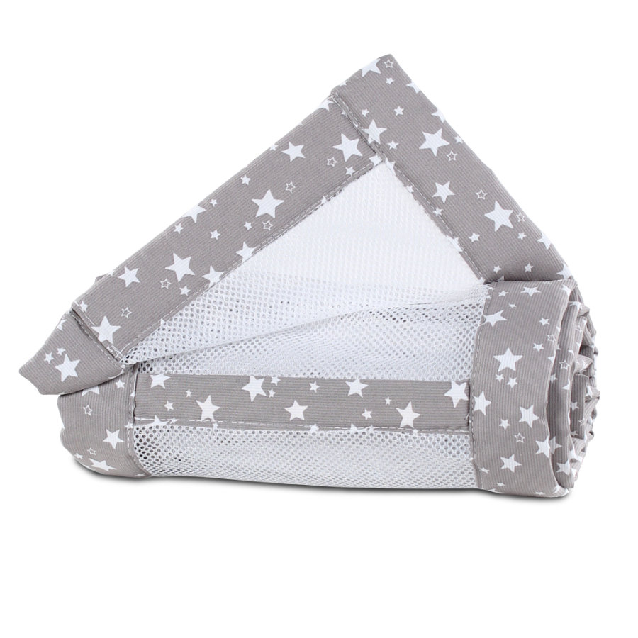 babybay® Tour de lit cododo pour Maxi, Boxspring mesh piqué taupe étoile blanc 168x24 cm
