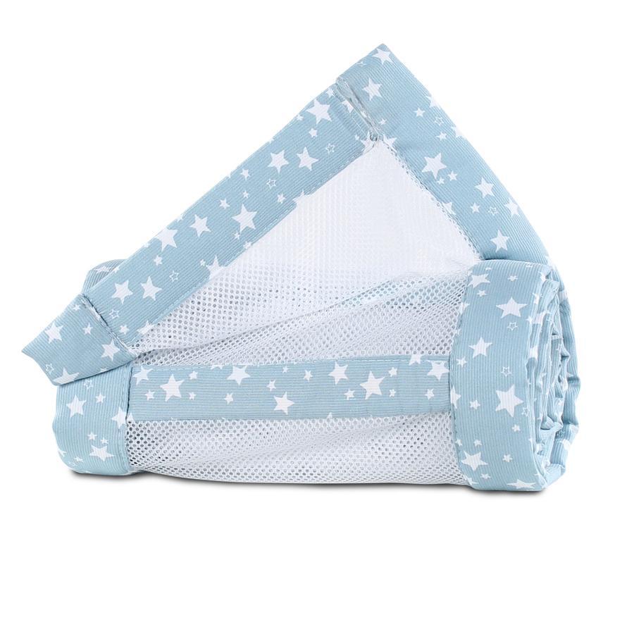 babybay® Spjälskydd Mesh-Piqué Maxi, Boxspring och Comfort blå vita stjärnor 168x24 cm