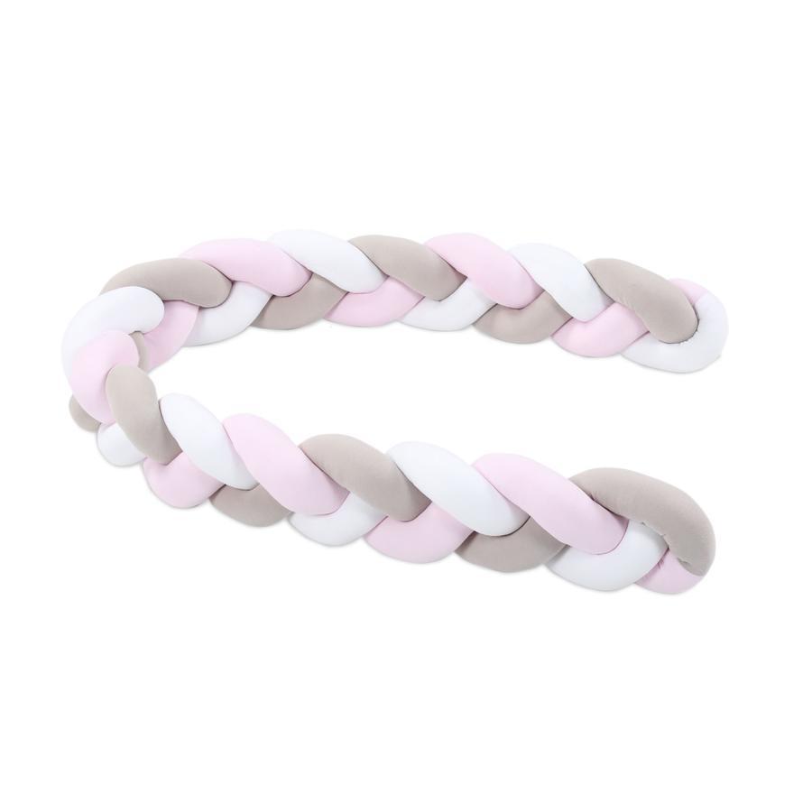 babybay® Nestchenschlange geflochten weiß/beige/rosa
