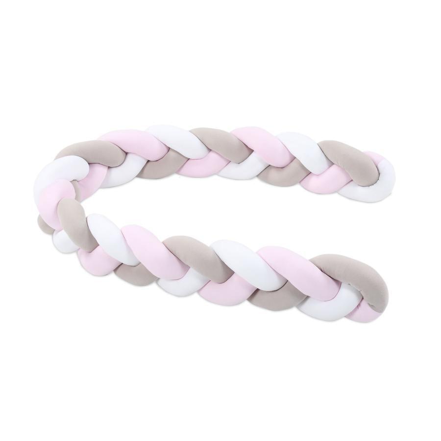 babybay ® Nido de serpiente trenzado blanco/beige/rosa