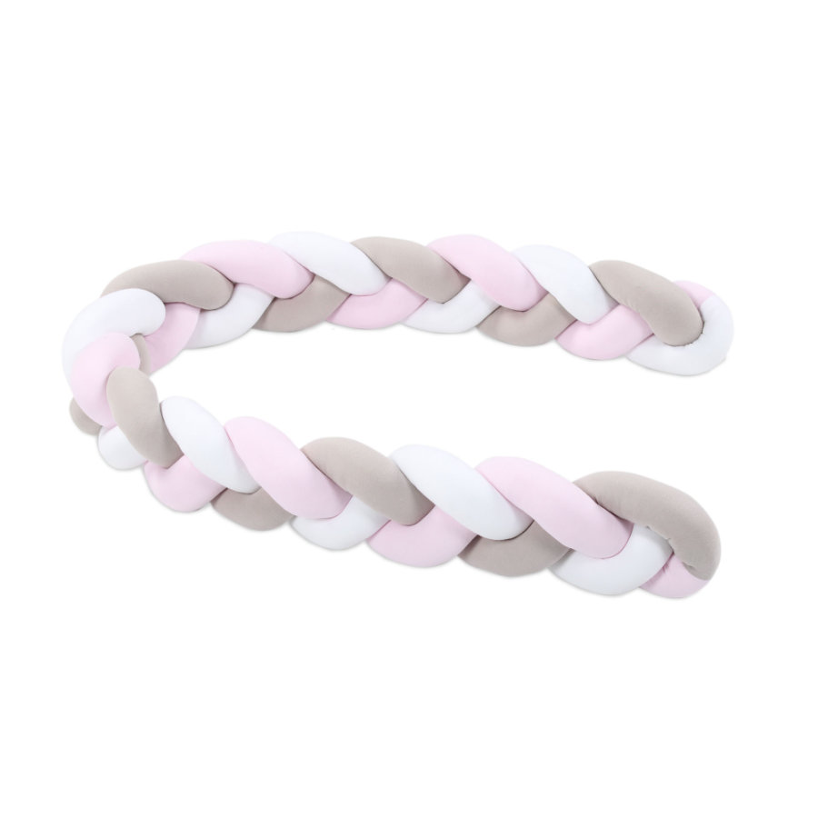 babybay ® Ochraniacz do łóżeczka warkocz biały/beżowy/różowy