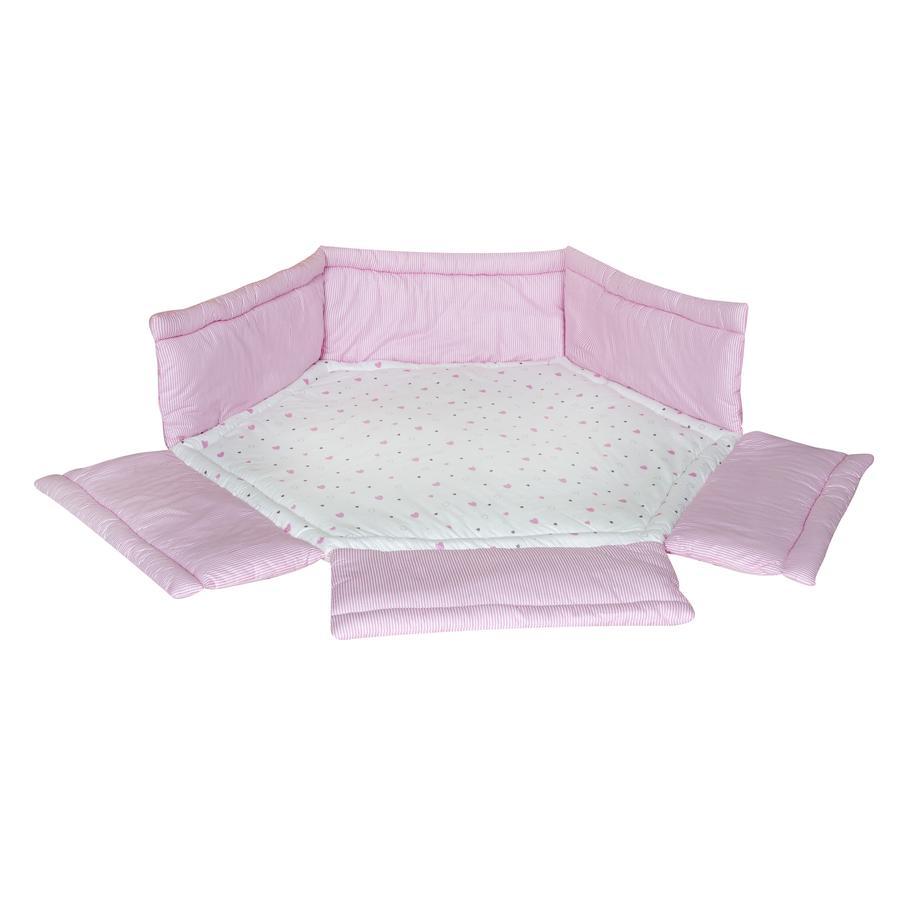 Schardt Laufgittereinlage 6-Eck mit Rand Herzchen rosa