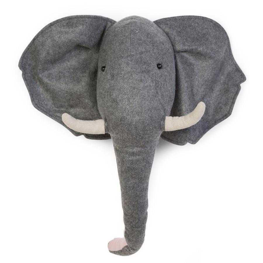 CHILDHOME Décoration murale tête d'éléphant feutre