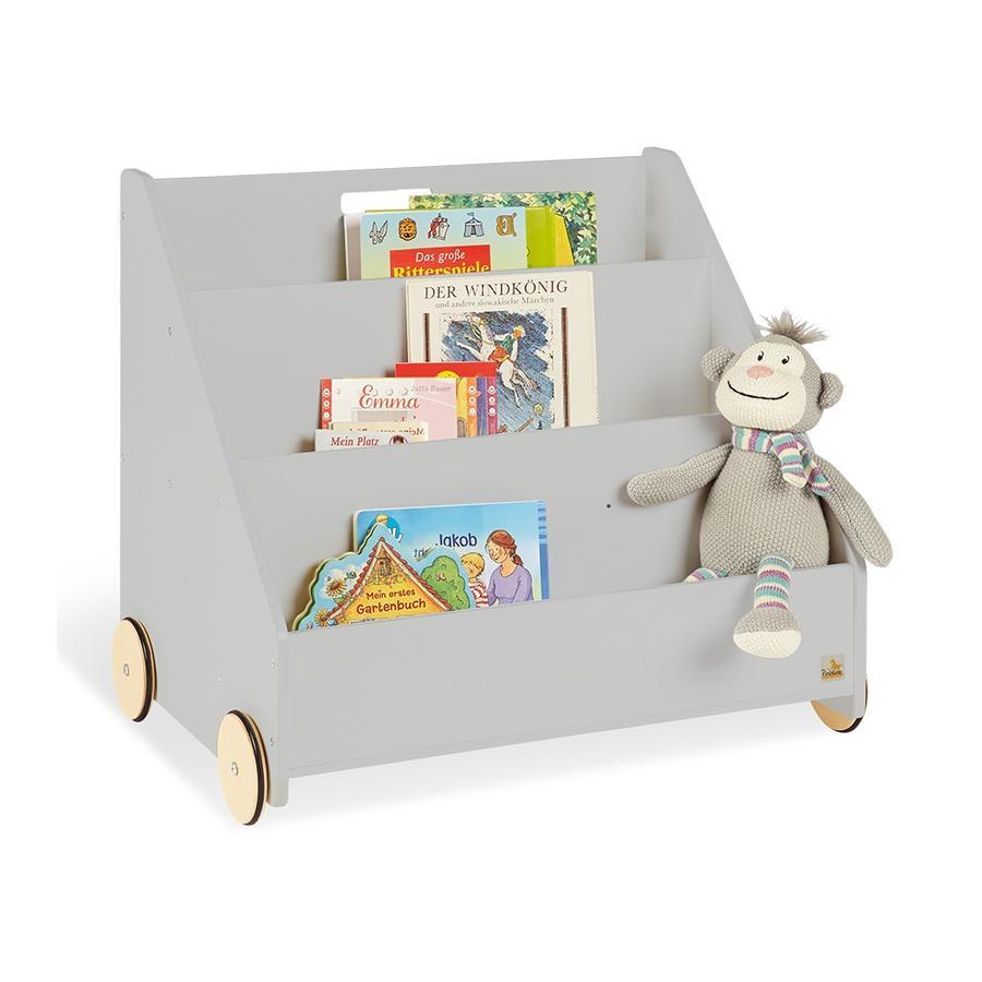 Pinolino Regał na książki dla dzieci z kółkami Lasse, szary
