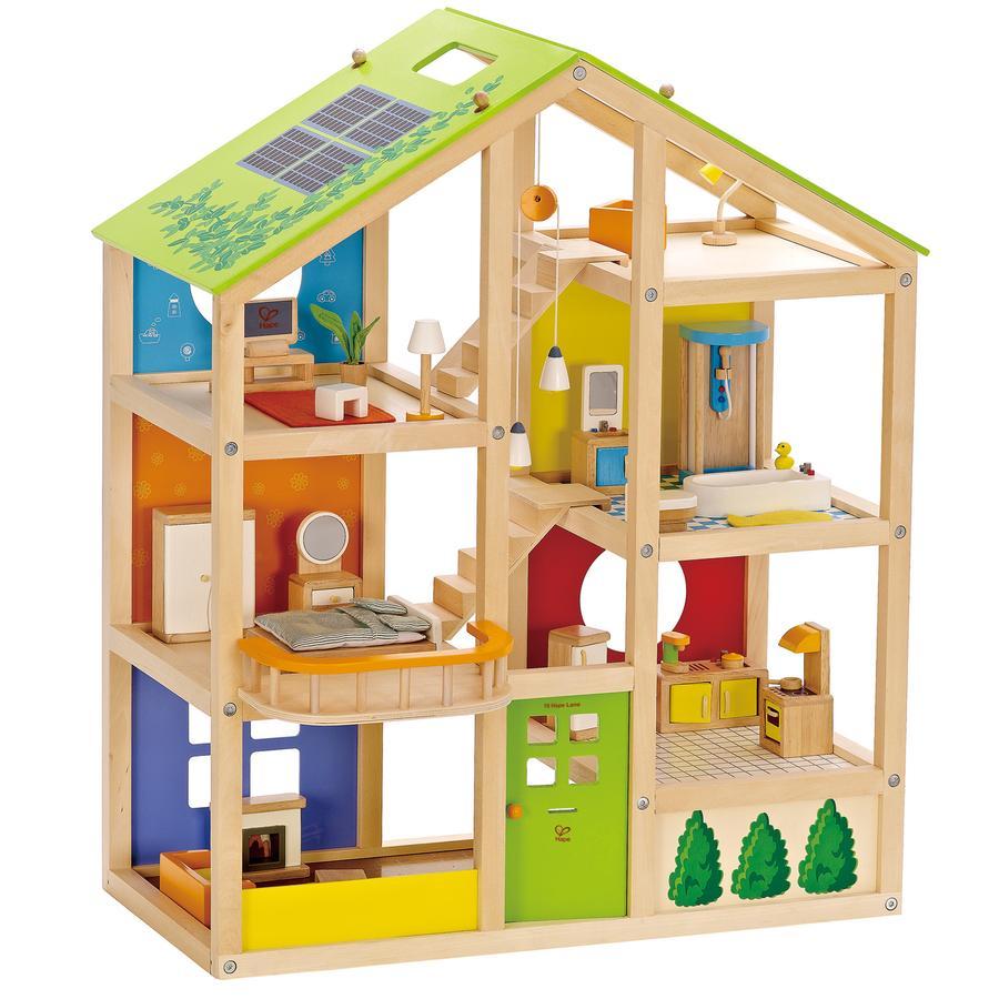 Hape Maison de poupée 4 saisons, meublée, 35 pièces E3401