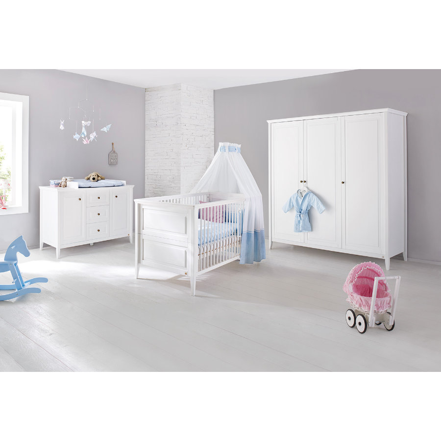 Pinolino Ensemble lit bébé commode armoire 3 portes Smilla blanc