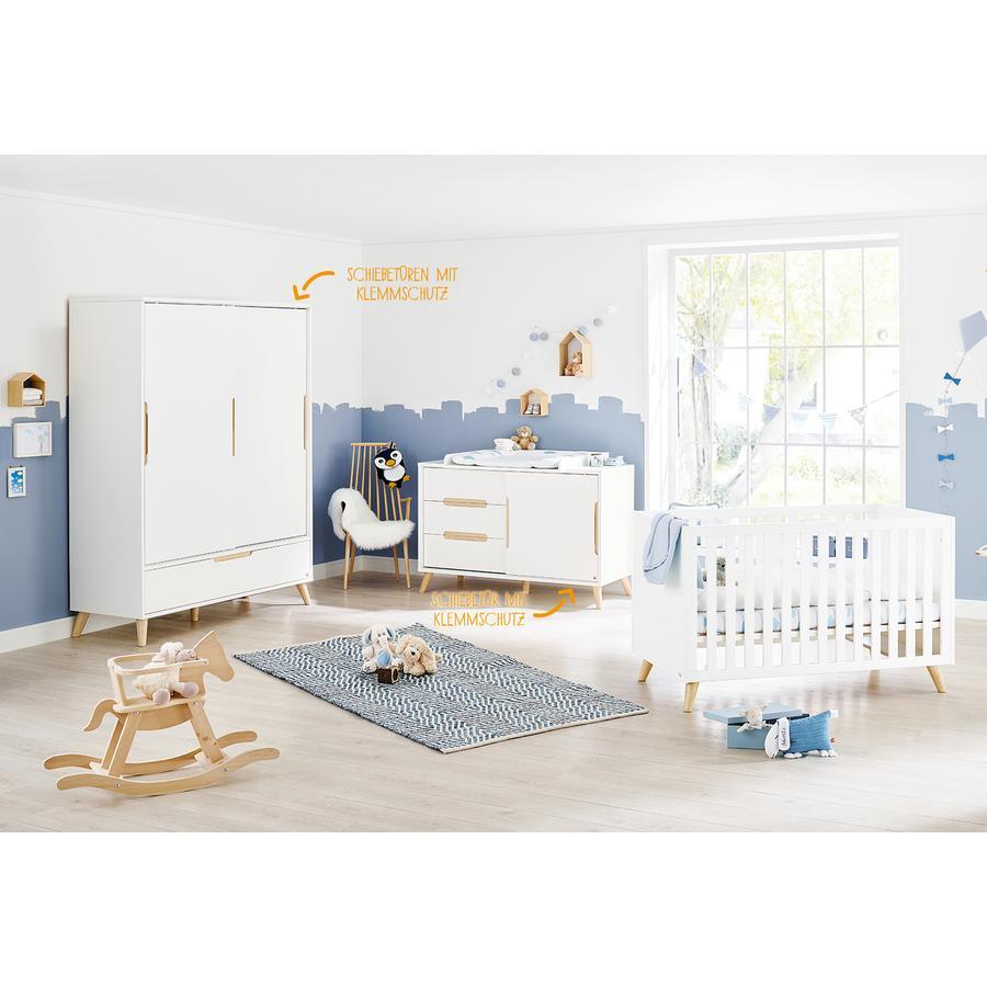 Pinolino Ensemble lit bébé commode à langer armoire 2 portes Move blanc/naturel