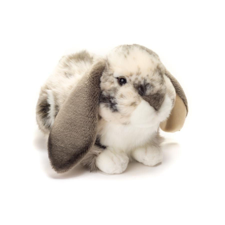 Teddy HERMANN® Peluche Coniglio sdraiato grigio-bianco, 30 cm