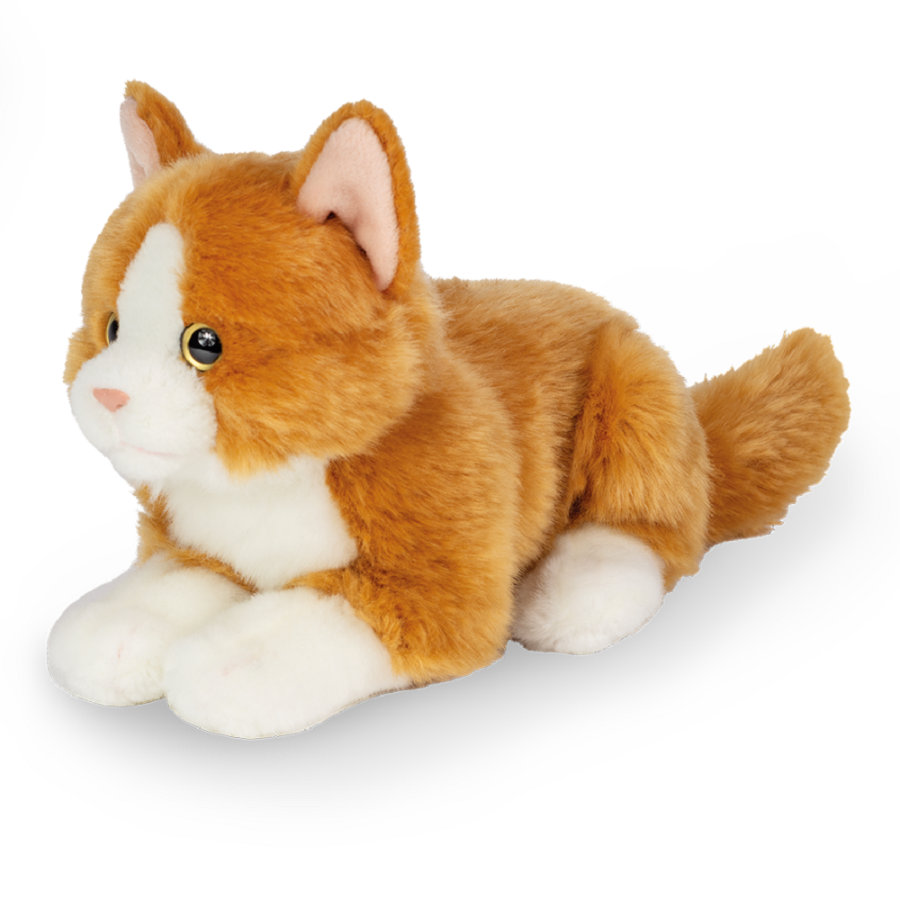 Teddy HERMANN® Peluche chat couché rouge 20 cm