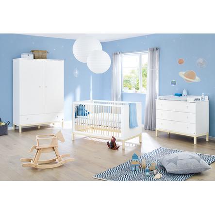 Pinolino Ensemble lit bébé commode à langer armoire 2 portes Skadi blanc/crème