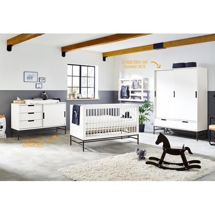 Pinolino Ensemble lit bébé commode à langer armoire 2 portes Steel blanc