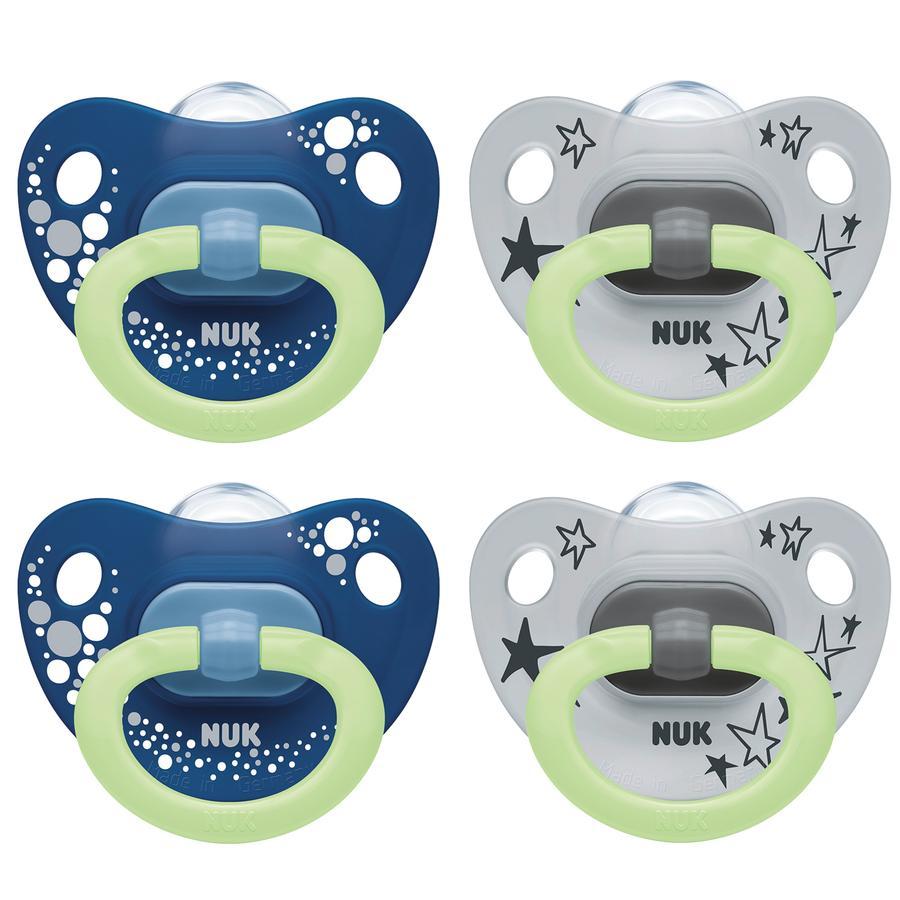 NUK Schnuller Happy Night mit Leuchteffekt Größe 1 0 - 6 Monate Design: blau / grau 4 Stück