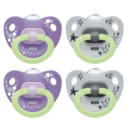 NUK Schnuller Happy Night mit Leuchteffekt Größe 2 6 - 18 Monate Design: violett / grau 4 Stück