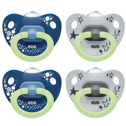 NUK Sucette Happy Night à effet lumineux taille 2 6 - 18 mois Design : bleu / gris 4 pcs