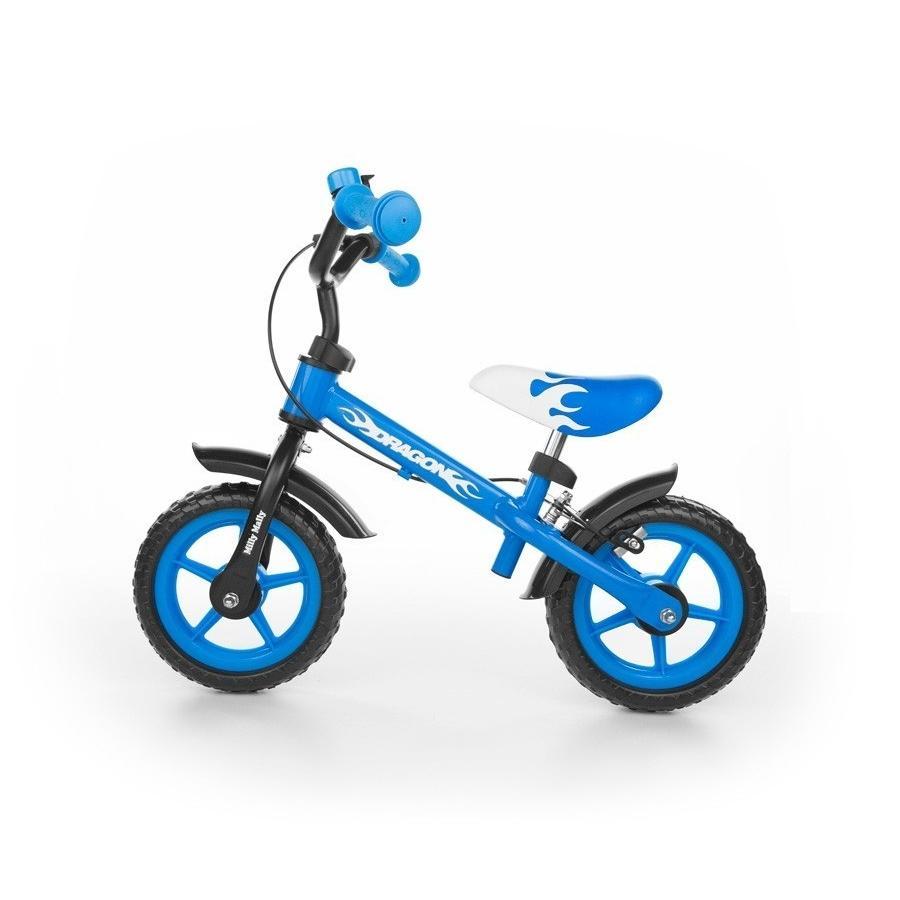 Milly Mally Dětské odrážedlo kolo Dragon s brzdou blue