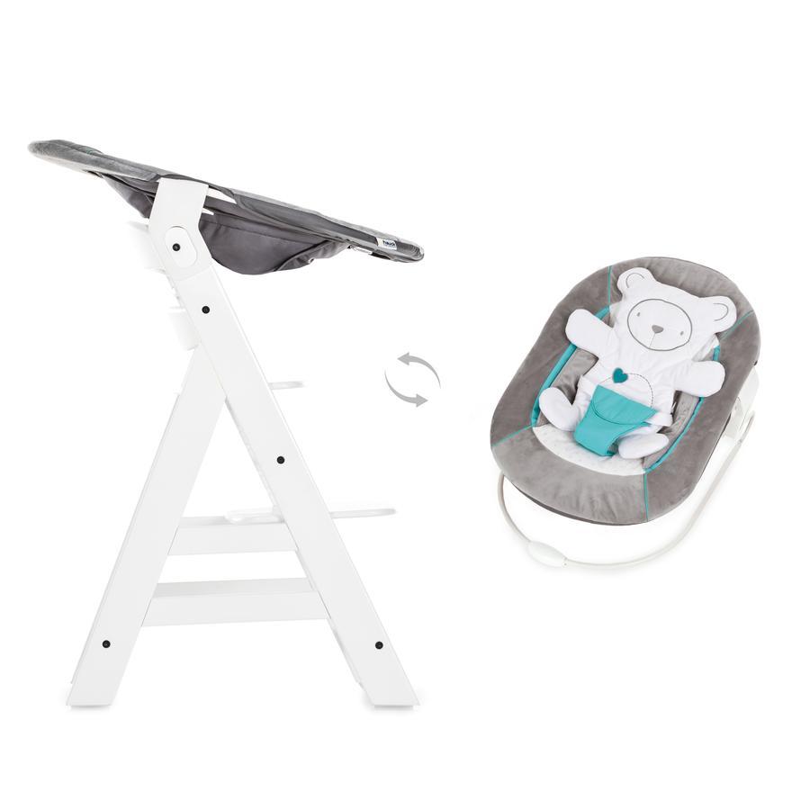 hauck jídelní židlička Alpha plus white včetně Bouncer 2in1 Hearts grey