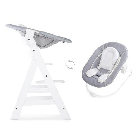 hauck Chaise haute évolutive Alpha Plus blanc, inclus transat stretch gris