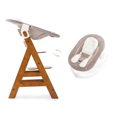 Hauck dětská jídelní židlička Alpha Plus oříšková včetně Bouncer lehátka 2in1 Stretch béžová