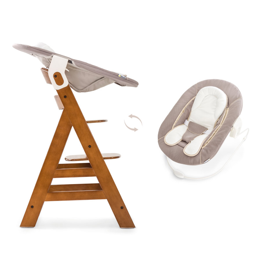 hauck Seggiolone Alpha plus walnut con sdraietta Bouncer 2in1 Stretch Beige