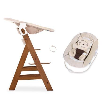 hauck jídelní židlička Alpha plus walnut včetně Bouncer lehátka 2in1, béžová