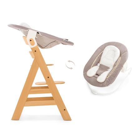 hauck Chaise haute bébé Alpha Plus naturel, inclus transat stretch, beige