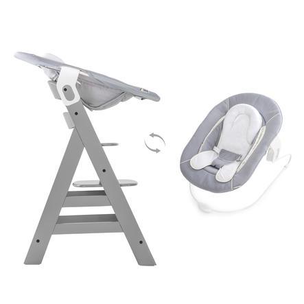 hauck Chaise haute évolutive Alpha Plus grise, transat inclus stretch gris