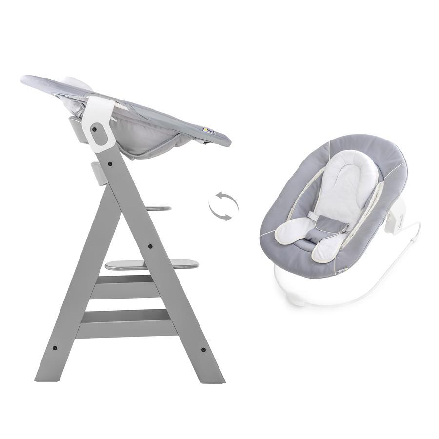 Hauck Kinderstoel Alpha Plus B grey inclusief Hauck wipstoeltje 2-in-1 Stretch grey