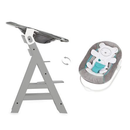 hauck Krzesełko do karmienia Alpha Plus B grey wraz z leżaczkiem na krzesełko Alpha Bouncer 2w1 Hearts grey