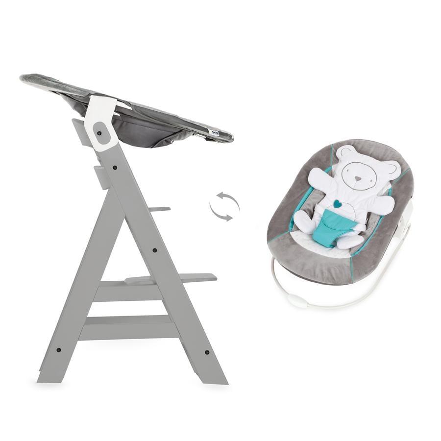 Hauck jídelní židlička Alpha+ grey včetně Bouncer 2in1 Hearts grey