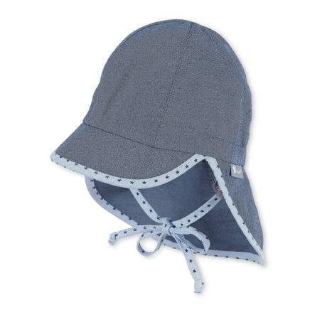 Sterntaler czapka z daszkiem z osłoną szyi średnioniebieską