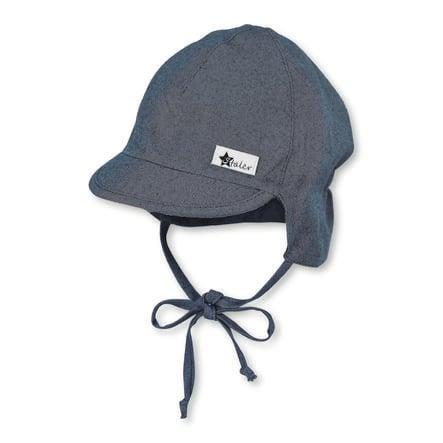 Sterntaler casquette à visière avec protège-cou bleu moyen