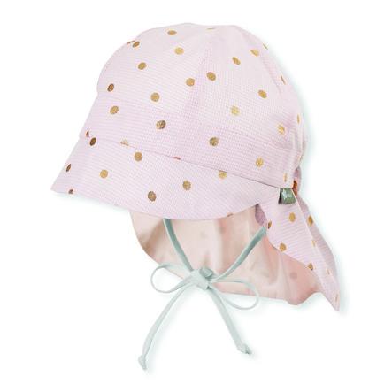 Sterntaler Casquette à visière avec protège-cou rose pâle