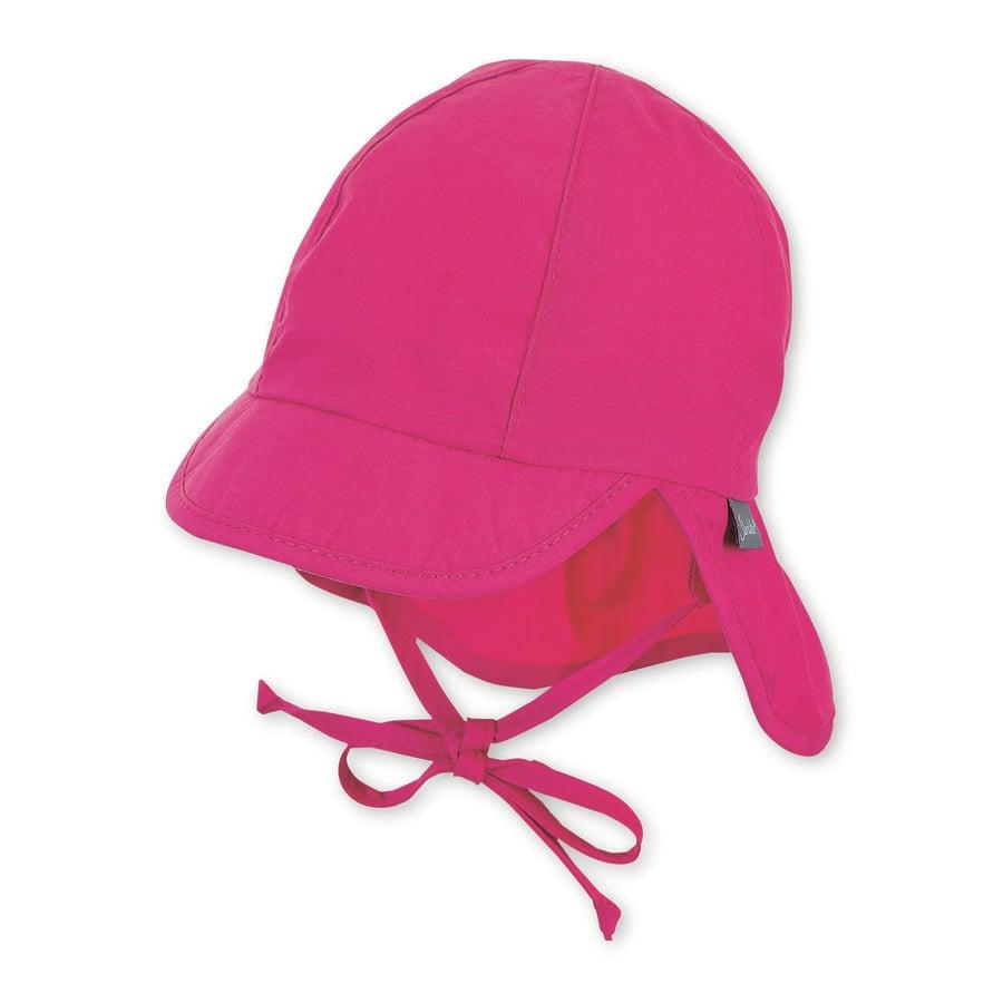 Sterntaler Peaked cap med halsskydd magenta