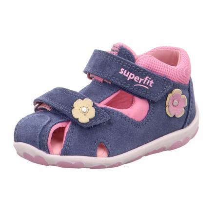 superfit Sandales enfant scratch Fanni bleu/rose, largeur moyenne