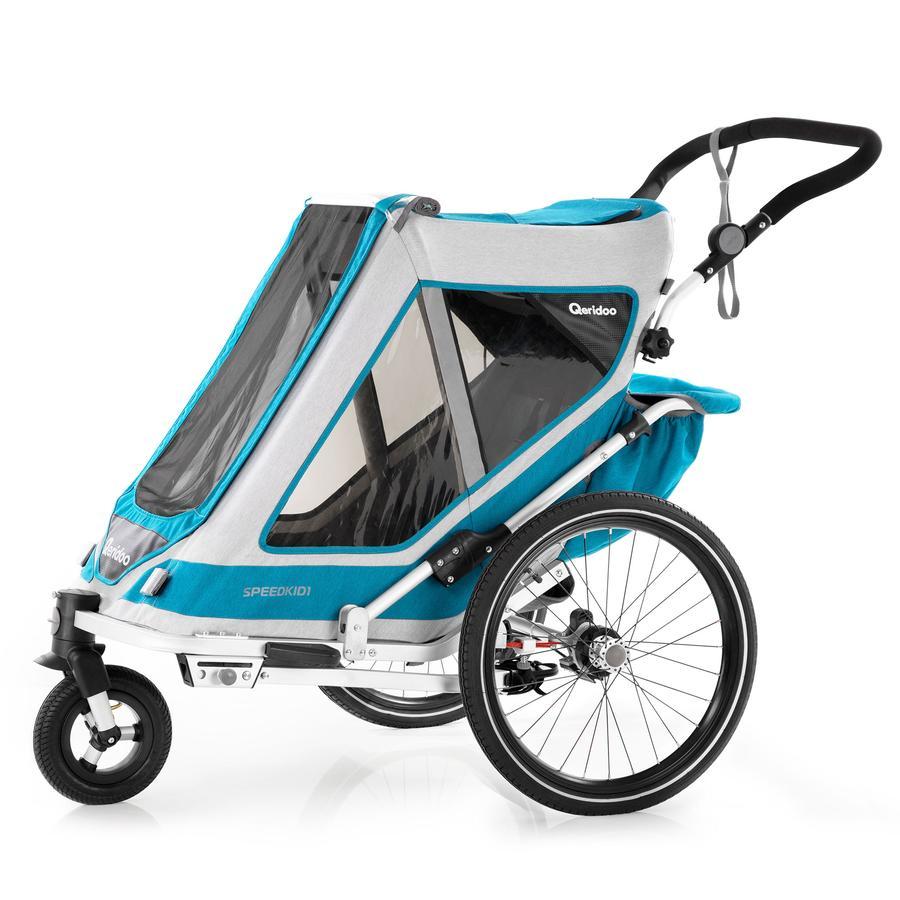Qeridoo® Remorque vélo enfant Speedkid1 bleu pétrole 2020