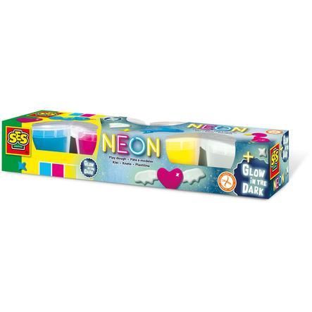 SES Creative® Neon en Glow in the dark klei 4x90gr
