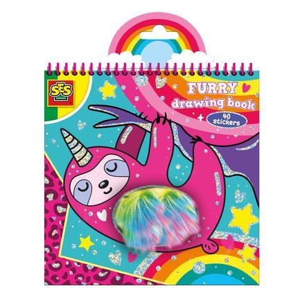 SES Creative® Album de coloriage enfant stickers peluche