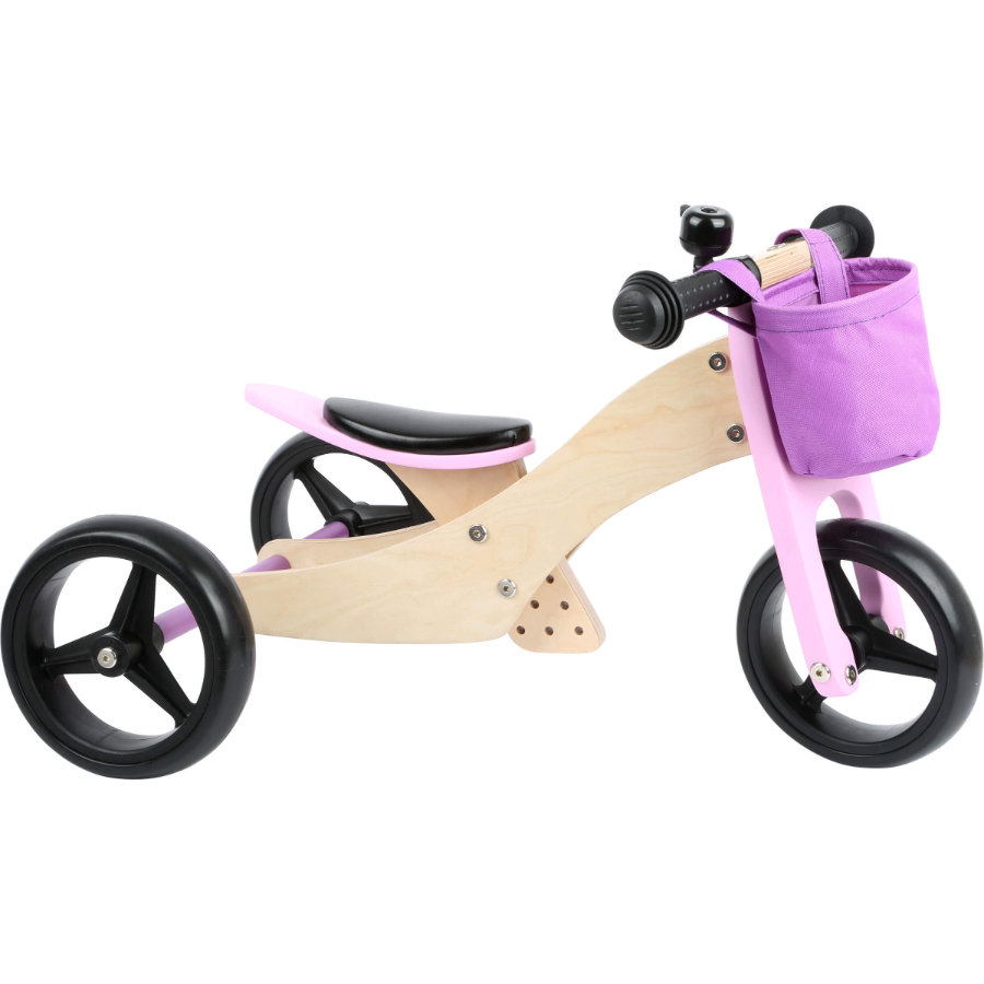 small foot® Draisienne enfant 3 roues 2en1 bois rose