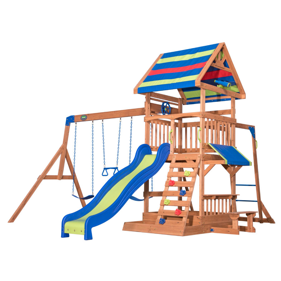 Backyard Discovery Aire de jeu enfant Northbrook toboggan bois, brun